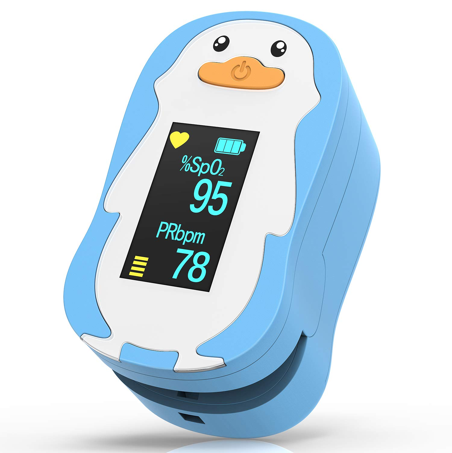 Children Blood Oxygen Saturation Monitor, HOMIEE Digital Fingertip SpO2 Oxygen Meter Heart Rate Monitor with 2 AAA Batteries and Lanyard, Not for Newborn and Infant, Sport and Aviation Use Only, Blue by HOMIEE