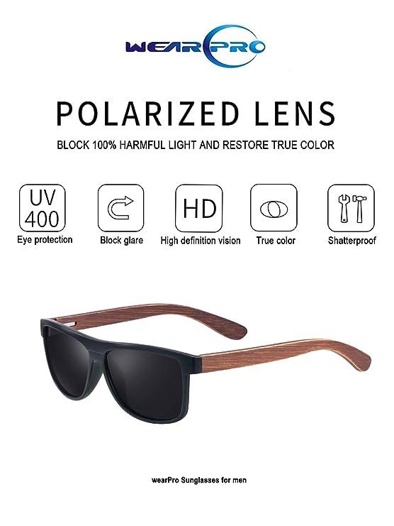 dd8fc3822e Amazon.com  Polarized Wood Sunglasses for Men and Women -wearPro Wood  Sunglasses UV400 for Traveling with Polarized Lenses (A Matt Black