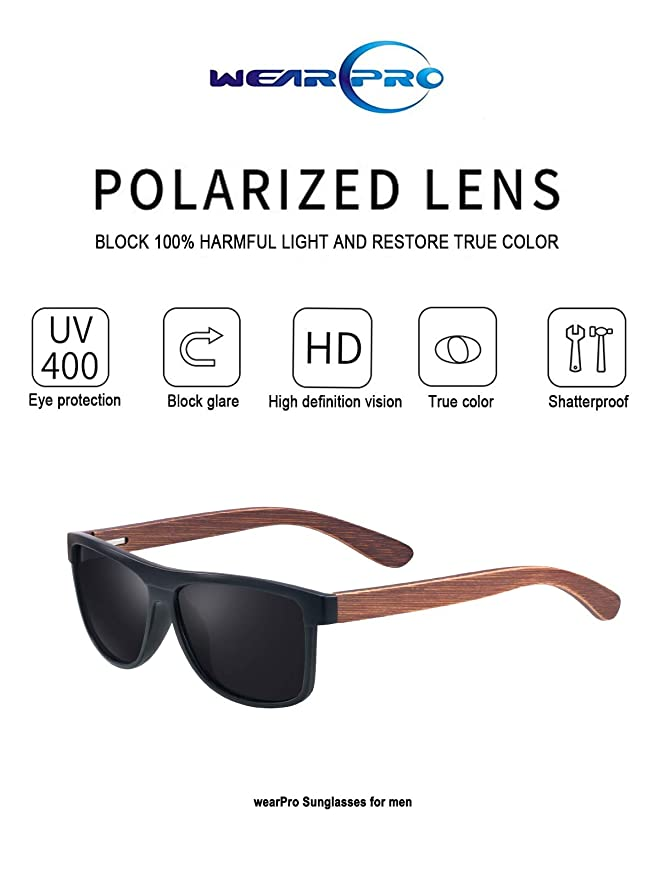 3c9a04043ee3f Amazon.com  Polarized Wood Sunglasses for Men and Women -wearPro Wood  Sunglasses UV400 for Traveling with Polarized Lenses (A Matt Black