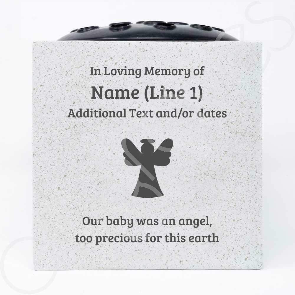 Angraves Personalised Baby Precious Angel Customised Memorial Graveside Flower Rose Bowl Vase