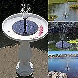 Solar Fountain Hiluckey 1.4W Solar Pump Bird Bath Fountain Self powered for Garden and Patio Watering, Solar Panel Kit Water Pump