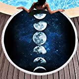 Sleepwish Moon Beach Towel Dark Blue Beach Blankets Tapestry Picnic Mat Table Throw Round Beach Towels with Fringe (Lunar Eclipse, 60'' Roundie approx)
