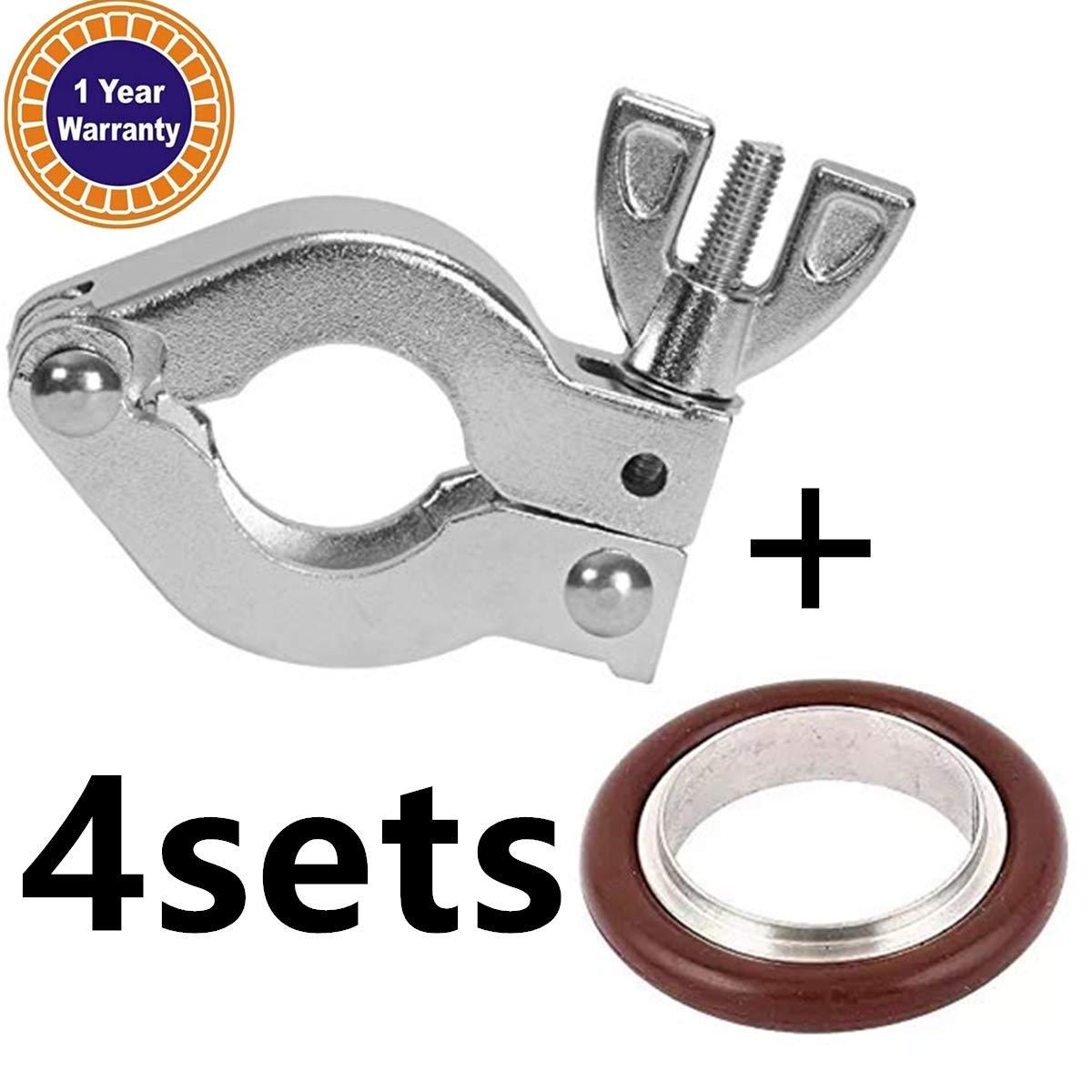 4 Sets KF-16 Aluminium Clamp Ring + KF16 Stainless Steel/Buna 304 Centering Ring FKM