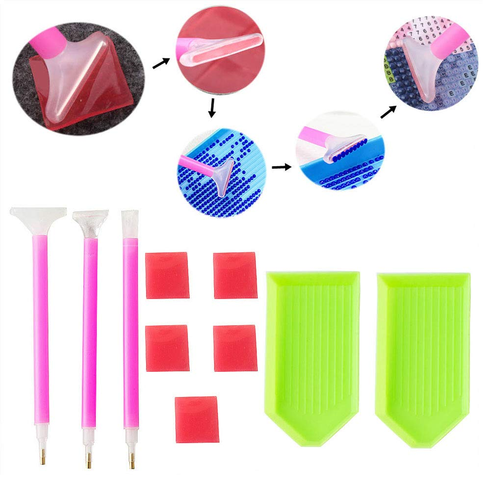 Academyus 10Pcs/Set Diamond Painting DIY Tool Kits Dual-Head Pens Plastic Tray Glue Mud by Academyus (Image #3)
