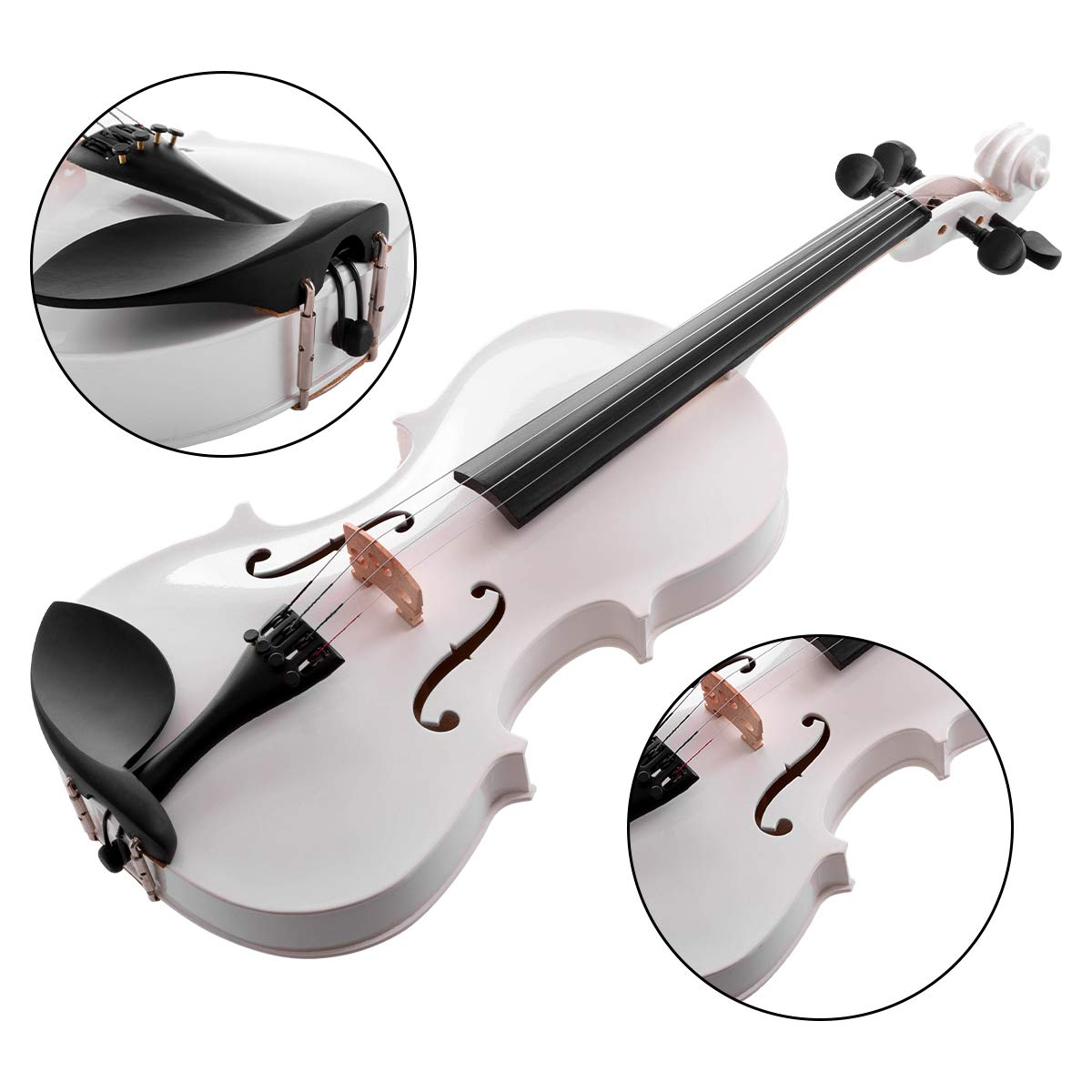 ARTALL 4/4 Handmade Student Acoustic Violin Beginner Pack with Bow, Hard Case, Chin Rest, Tuner, Spare Strings, Rosin and Bridge, Glossy White by ARTALL (Image #5)