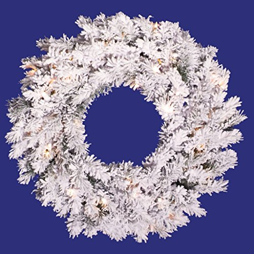 - Vickerman Flocked Alaskan Pine Wreath-Unlit, 20-Inch, Flocked White on Green