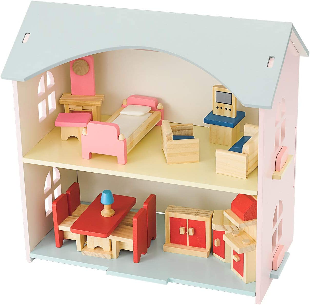 NextX Wooden Dollhouse Set with Furniture, Pretend Play Toys for Girls, Miniature Wooden Toys for Kids, Doll House Educational Learning Toys for Boys and Girls