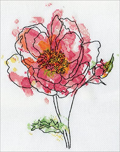 Floral Needlework Kit - Pink Floral Counted Cross Stitch Kit-8