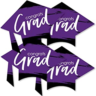 product image for Big Dot of Happiness Purple Grad - Best is Yet to Come - Grad Cap Decorations DIY Purple Graduation Party Essentials - Set of 20