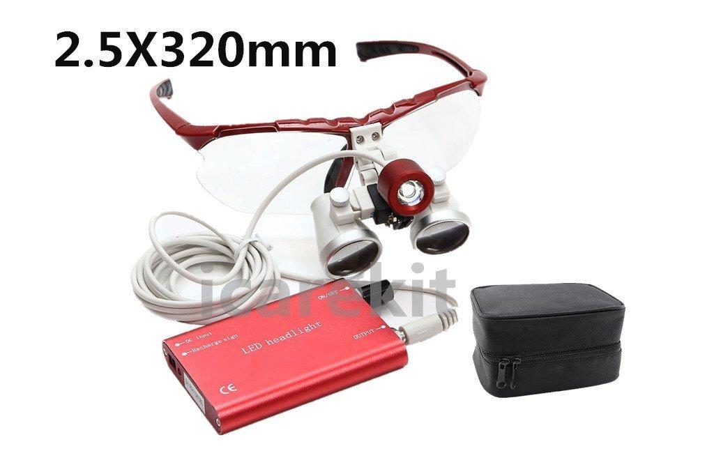 Careshine 2.5X 320mm Red Dental Surgical Medical Binocular Loupes + LED Head Light Lamp Red + Carry Bag
