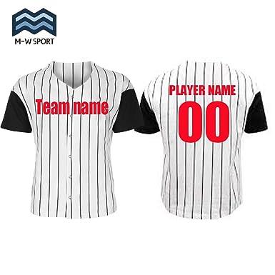 f1a5c958bb5 M-W Sports Custom Pinstripe Baseball Jerseys Full Button White Classic  Softball Uniform (Black, XXXL