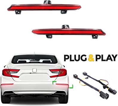 MotorFansClub Smoked Lens Rear Bumper Reflector Brake Tail Sequential Flash Singal Light Fit For Compatible With Honda Accord 10th 2018 2019 2020 Red Lens