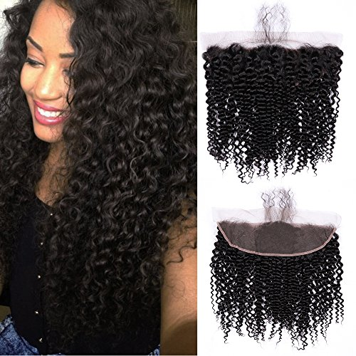 URALL Hair Brazilian Kinky Curly 13x4 Ear to Ear Lace Frontal Closure Unprocessed Virgin Human Hair Frontal with Baby Hair Natural Color (8inch)