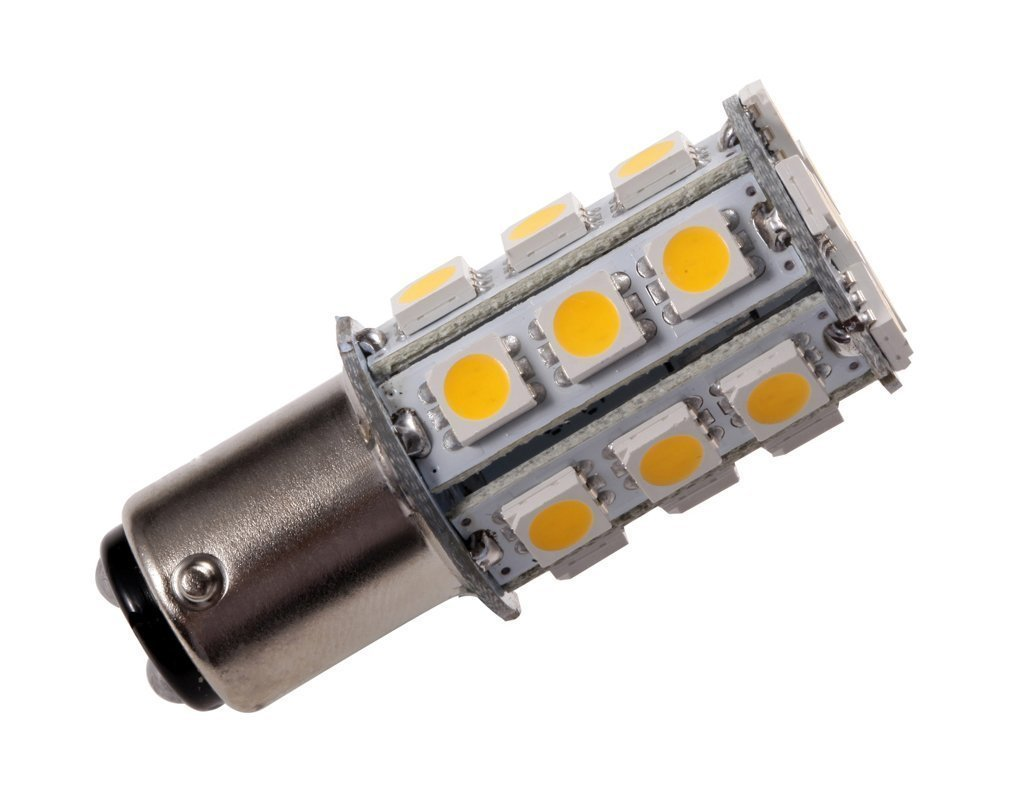 GRV Ba15d 1142 1076 High Power Car LED Bulb 24-5050 SMD DC 12V Warm White Pack of 6