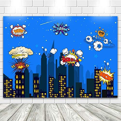 econious Superhero Backdrop, 7X5ft Superhero Birthday Party Supplies