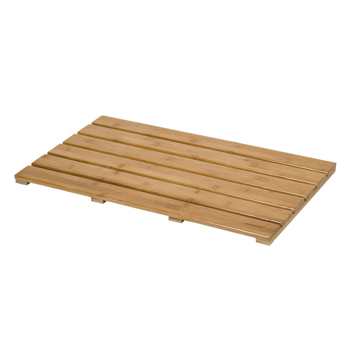 GOBAM Large Bath Mats Shower Mat Bathroom Floor Mat Non Slip for Spa Tub and Kitchen, Bamboo (26 x 15.8 x 1.3 inches)