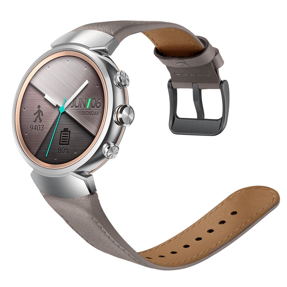 Balerion-Watch band for ASUS ZenWatch 3,Quick Release Genuine leather replacement watch band with stailess steel Buckle for ZenWatch 3-Grey