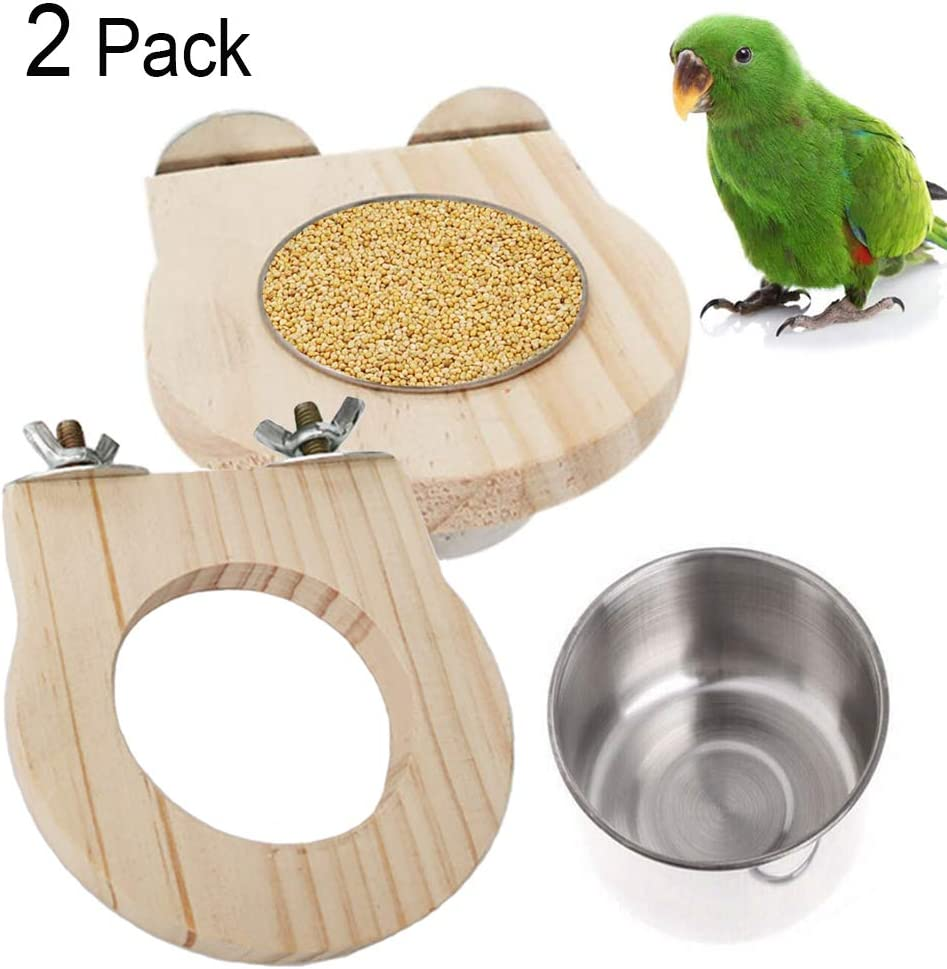 kathson Food & Water Bird Feeding Cups with Clamp Parrot Cage Hanging Bowl Stainless Steel Coop Cup Feeding Dish Feeder for Pet Birds Like Parakeet,Conure,Cockatiels,Finches(2 Pack)