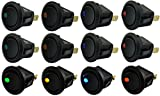 yueton 12pcs Car Truck Rocker Round Toggle LED