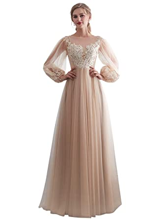 94482fbe93ef YIRENWANSHA Sexy Prom Dresses 2019 Applique Tulle Party Gown Long Puff  Sleeves Formal Dress SH050 at Amazon Women's Clothing store: