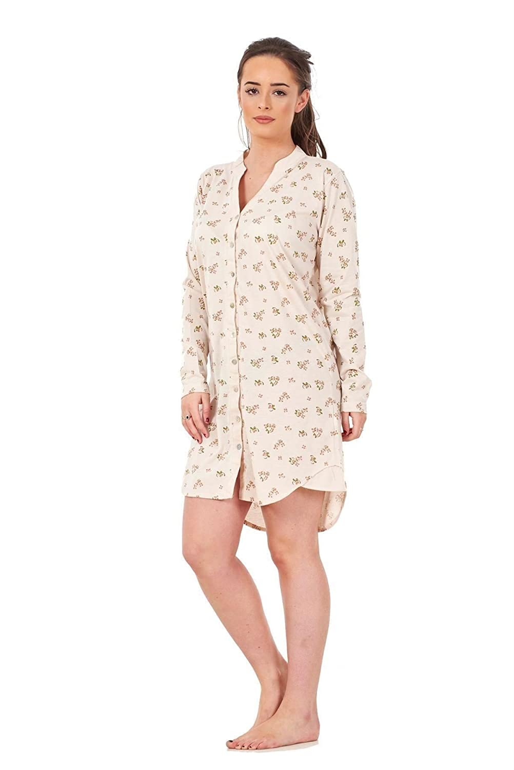 Bay eCom UK New Ladies Women's Nightwear Shirt Buttons Floral Print Long Sleeve Top Nightie M-2XL Does not Apply