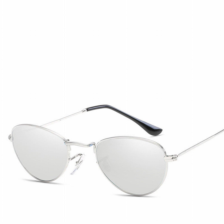 Retro Farbe Linse Sonnenbrille Metall Damen Schildkröten Sonnenbrille Silberrahmen Eis Blau 4acNrVh