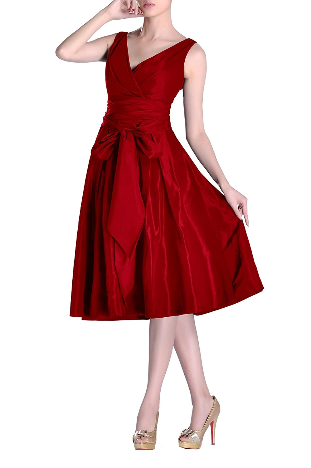 Formal Modest bridesmaids A-line V-neck Pleated Taffeta Tea Length Bridesmaid Dress ED902