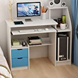 Computer Laptop Desk with Drawer Shelf, Children Study Desk and Bookcase Office Home PC Table with Mainframe Rack Modern…