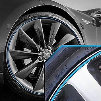 Tesla bandas de rueda cielo Azul Borde de rayas en color negro. Para 13 - 22 de llantas: Amazon.es: Coche y moto