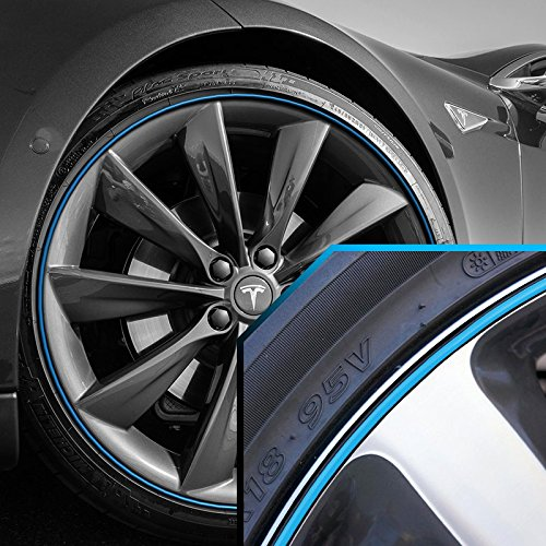 Tesla Wheel Bands Sky Blue in Black Pinstripe Edge Trim for 13-22' Rims UpgradeYourAuto