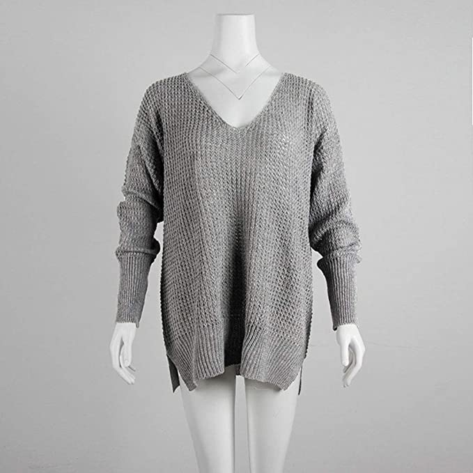 Urft Solid Color V Neck Sweater Loose Plus Size Sweater