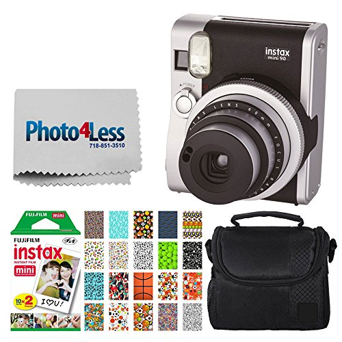 Fujifilm INSTAX Mini 90 Neo Classic Instant Camera (Black) + Fujifilm Instax Mini Instant Film (20 Exposures) + Compact Camera Case + Sticker Frames Sports Package + Photo4Less Cleaning Cloth