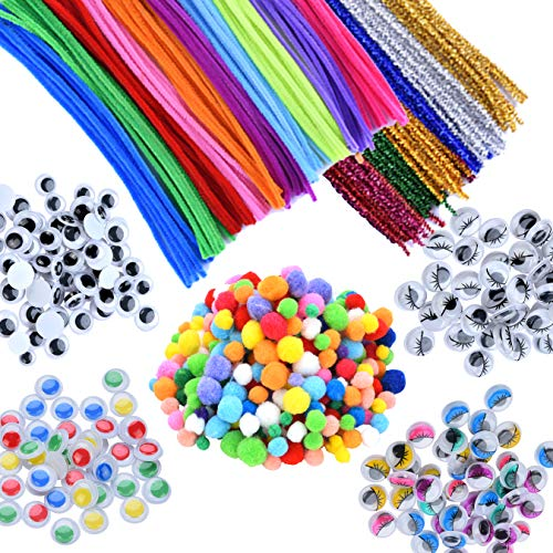 Chenille Assortment - EpiqueOne 750 Pieces Kids Art & Craft Supplies Assortment Set for School Projects, DIY Activities & Parties; Pipe Cleaners & Chenille, Pom Poms, Googly Eyes, Mascara Eyes, Colored Eyes for Sensory
