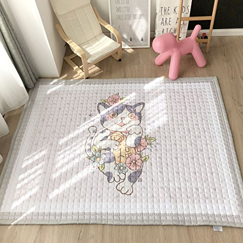 MEMORECOOL LIGHT UP YOUR HOME Baby Crawling Mat Cute Cat Play Carpet Children Bedroom Decor Rugs- Kids Teepee Mat Non-slip Rug(57''X77''