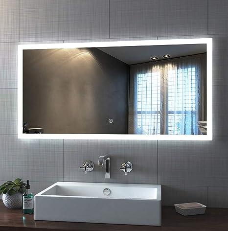 Badspiegel Mit Beleuchtung 120 X 60cm Led Spiegel Wandspiegel Mit Beleuchtung Kaltweiß Lichtspiegel Mit Touchschalter Ip44 Energiesparend