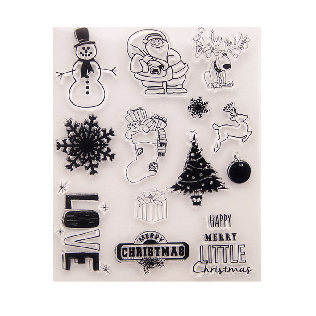 Seaskyer Clear Stamps for Cards Making Sheets Scrapbook Rubber Silicone Santa Claus DIY Silicone Clear Stamp Cling Seal Scrapbook Embossing Album Decor