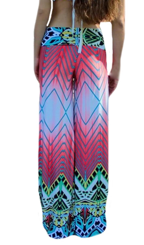 XTX Womens Casaul Beach Pink Printed Wide Leg Palazzo Pants