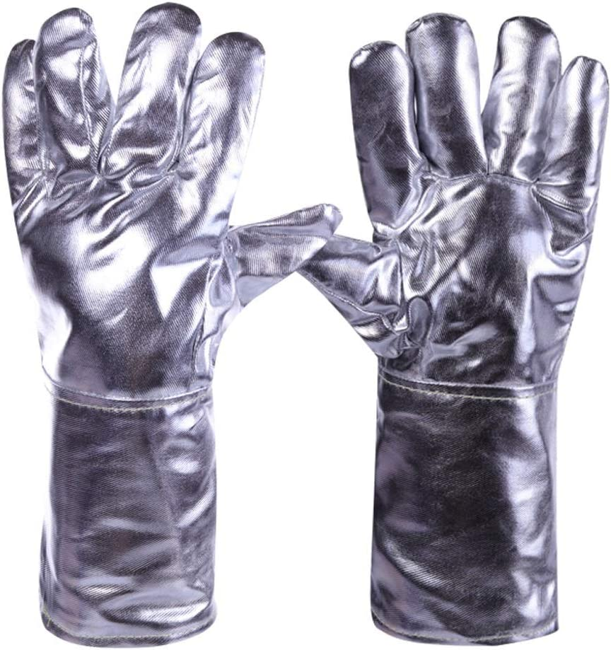 Zfusshop Gloves Aluminum Foil Fireproof Gloves, Flexible Full Finger Heat Insulation Gloves, Fire Resistant Safety Gloves For Cowhide Manufacturing/Wood Stove/Metal Cutting Protective Gloves,Work,Farm 61g1EHijpcL