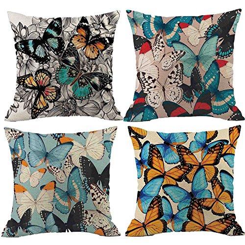Coton Housses Imprimés par de la Papillon Lot 4 Maison d'oreiller de 4 Coussin Taie 45 DE Décoration Homebaby Lot cm de 45 x Housse Coussin Coussin de xfB6EXq