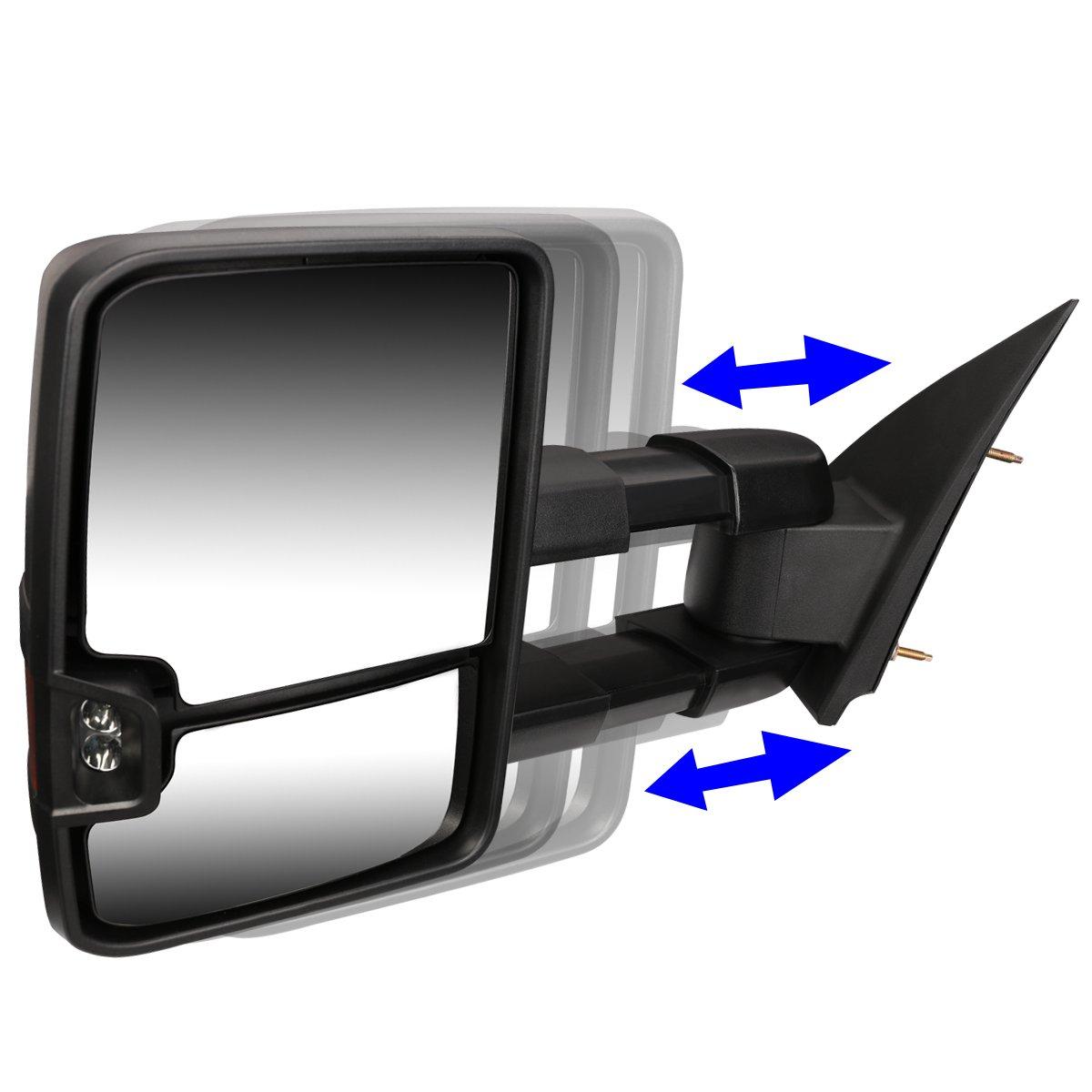 For Silverado/Sierra Pair of Black Manual Folding w/Amber LED Turn Signal  Towing Mirrors