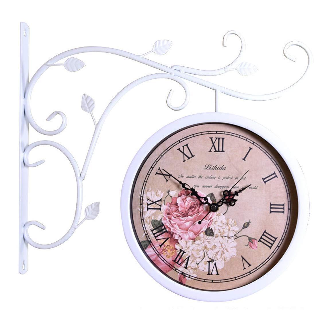 ホームデコレーションクリエイティブパーソナリティウォールクロックJYT、 レトロな壁時計サイレントヨーロッパ両面時計アメリカの農村リビングルームの壁時計クラフト時計、白2-2 ファッション雑貨   B07RDJVLD5
