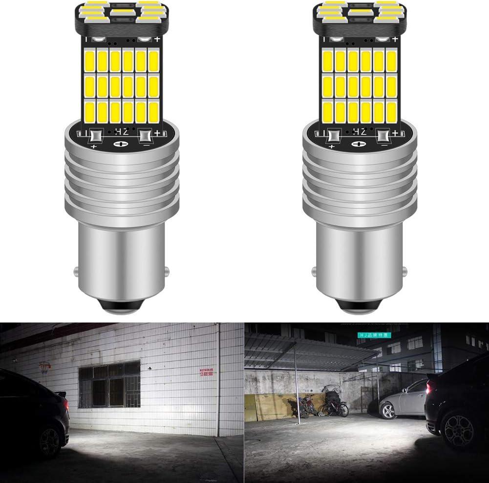 2 bombillas LED canbus decoder 850 LM, 1156, P21W, BA15S, 4014, 45 SMD, de color blanco, de Katur, luces de marcha atrás con resistencia, bombillas de indicador