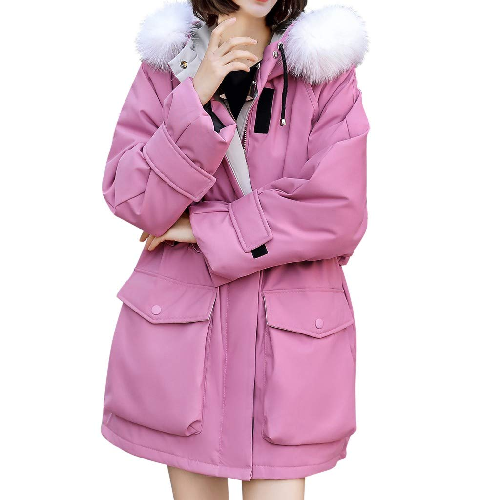 Women's Cotton Down Jacket Ladies Padded Long Thicken Parka Fur Hood Winter Outwear Warm Overcoat Pink by Han1dsome coat
