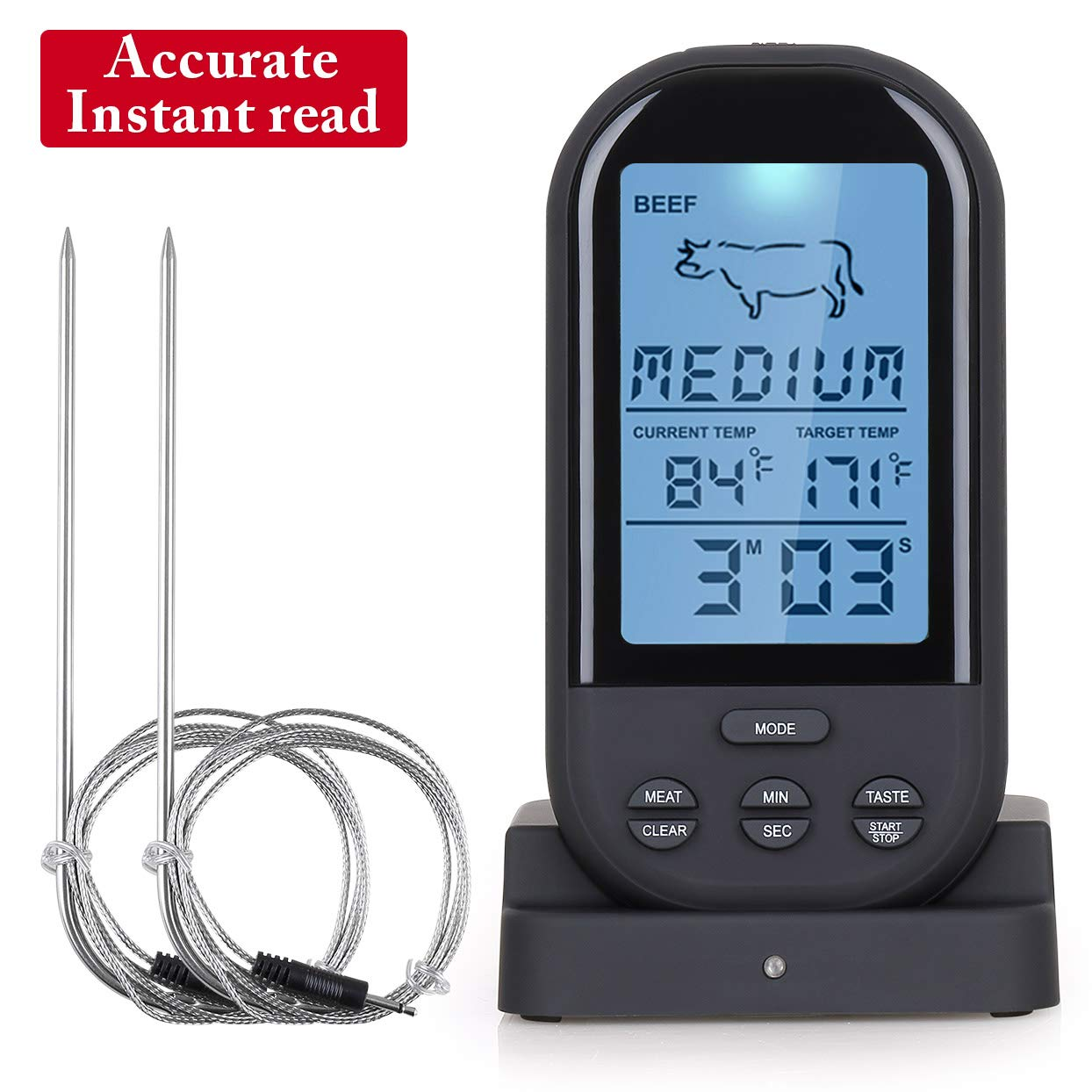Pansonite Wireless Meat Thermometer with Dual Probes and Digital LCD, Instant Read for Turkey Oven Grill Smoker Kitchen Cooking BBQ, 300 Feet Range Remote Control (2)