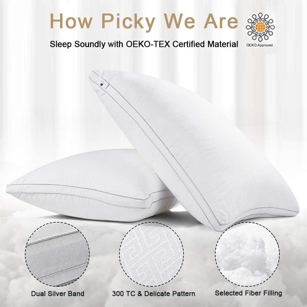 viewstar King Size Pillows for Sleeping, Bed Pillows 2 Pack Hotel Quality Pillow, Down Alternative Hypoallergenic Pillows for Side Back Stomach Sleepers, Soft and Supportive Gusseted Pillow (20x36): Home & Kitchen