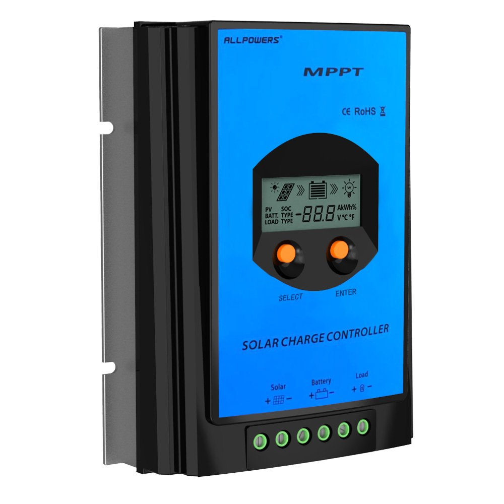 Allpowers 30a Mppt Solar Charger Controller Regulator Pwm Mode 12v 24v 6a Small Charge Control Ce 100v Input Tracer For Panel Battery With Lcd Display Garden Outdoor