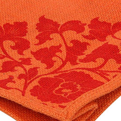 Banshren Retro Flower Pattern logo Nature Jute shopping shoulder tote bag Orange GG044