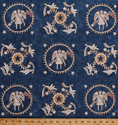 Cotton Liberty Angels Doves United States of America USA Patriotic Maid of Honor Blue Let Freedom Ring Primitive Quilter's Cotton Fabric Print by the Yard - Honor Of United Ring