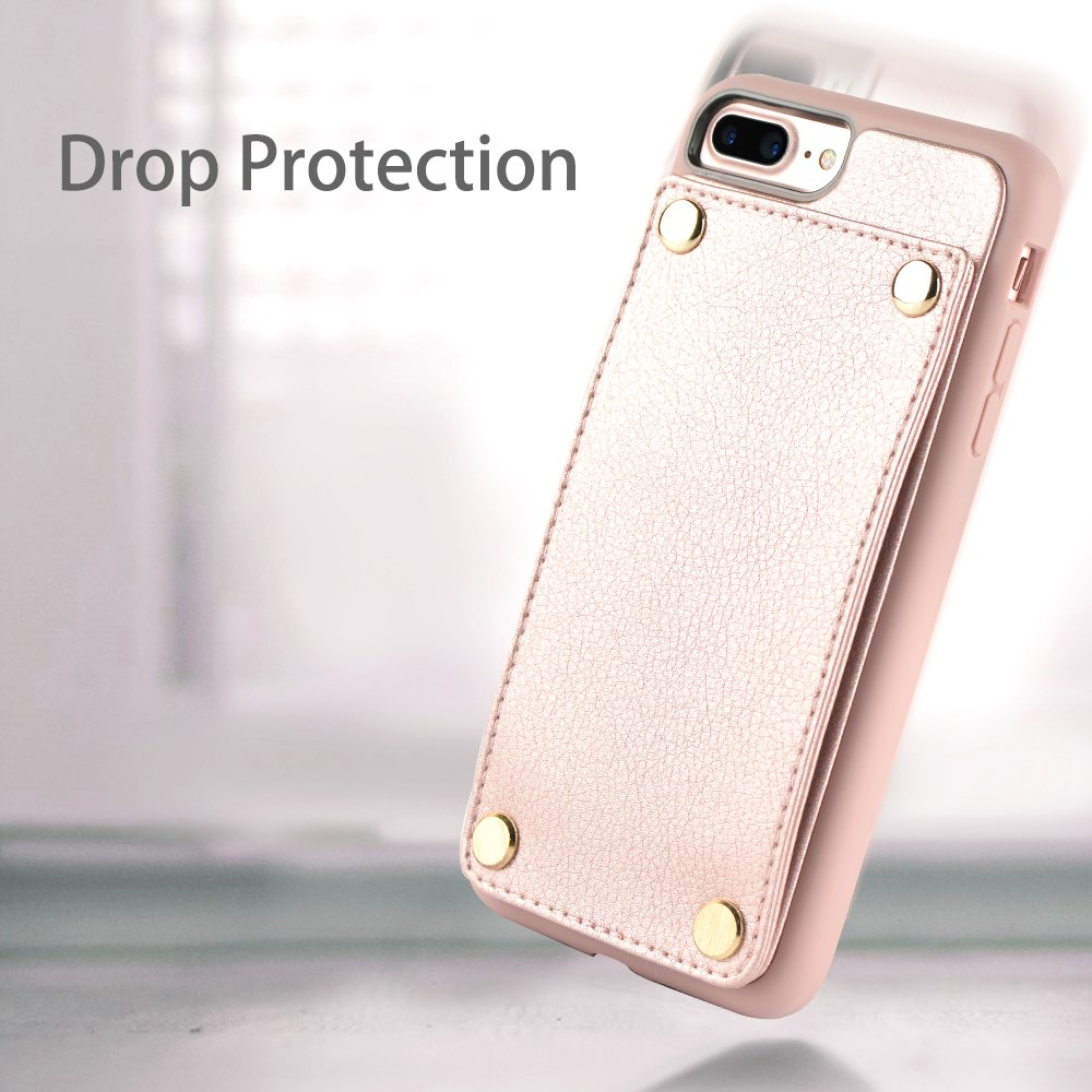 iPhone 7 Plus Case / 8 Plus Case Wallet, LAMEEKU iPhone 8 Plus Card Holder Leather with Credit Card Slot Case, Shockproof TPU Bumper Cover for Apple iPhone 7 Plus/ 8 Plus 5.5'' Rosegold by LAMEEKU (Image #7)