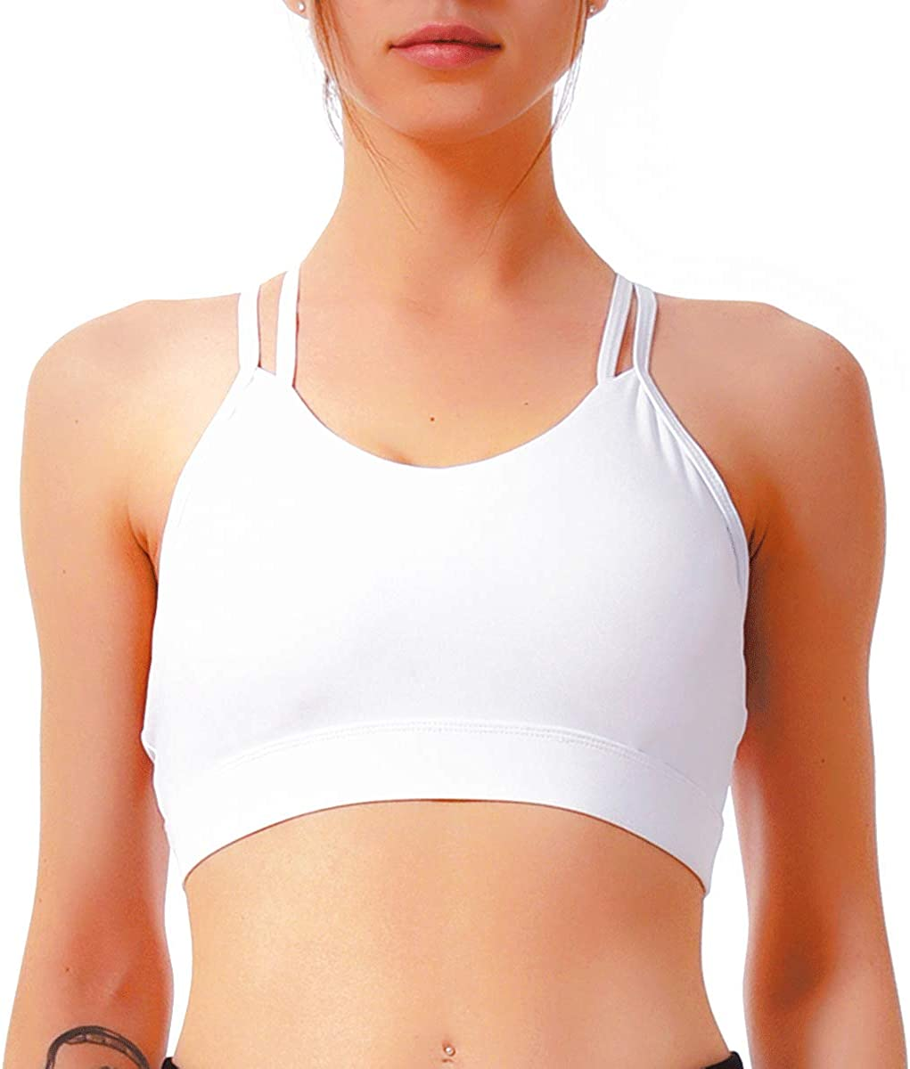Yasco Strappy Sports Bras for Women Workout Yoga Bra Top Padded Medium Support Low Impact